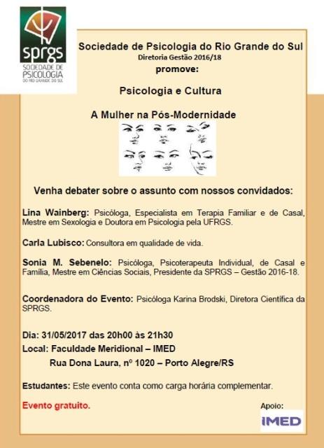 DIVULGAÇÃO PSICOLOGIA E CULTURA MAIO 2017